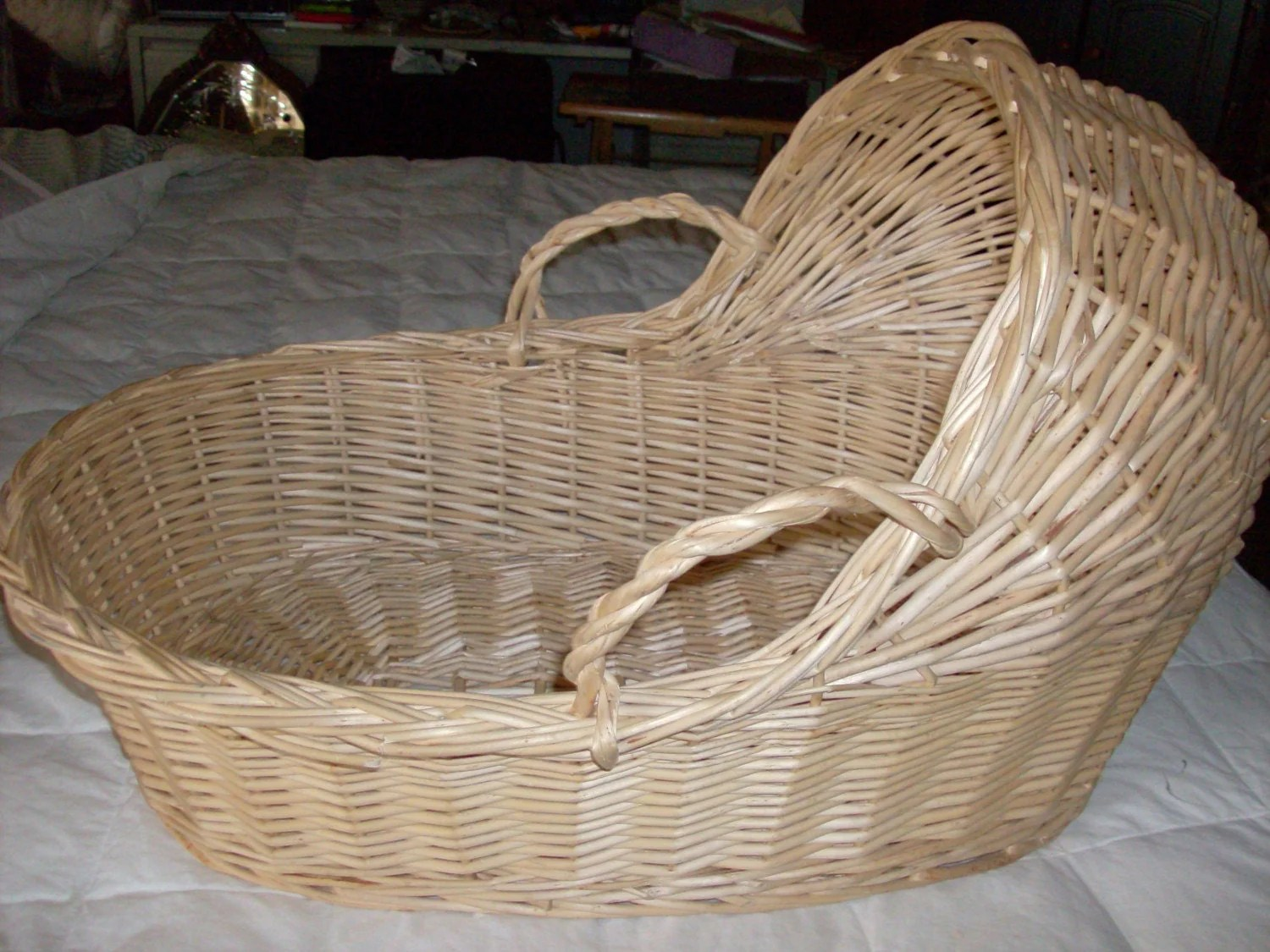 Vintage Baby Bed Moses Basket With Handles Made Of By