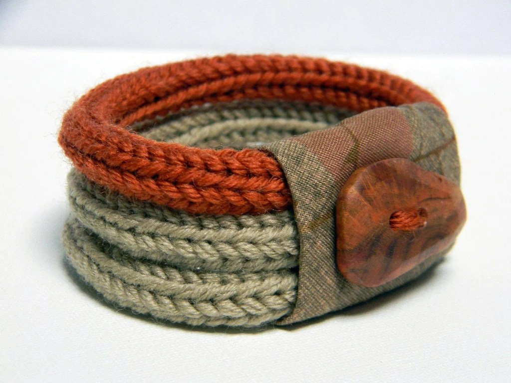Knitted Bracelet Wool And Fabric Linen Beige Burnt Orange