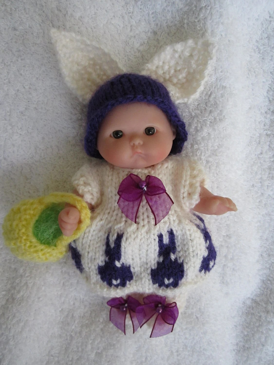Newborn Knitted Pram Suit Knit Doll Outfit Easter Bunny Suit With Easter Basket For 5