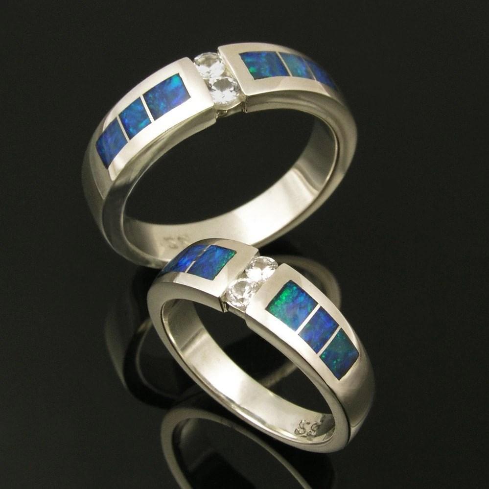 australian opal wedding ring set with blue opal wedding rings zoom