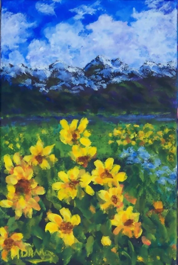Painting Picture Frames With Acrylic Colorado Mountain Landscape Painting Golden Wildflowers Yellow