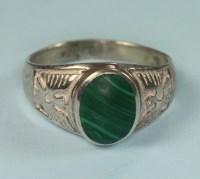 Vintage Malachite Ring Sterling Eagle Design Men's Sz 12