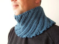HAND KNIT BLUE Cowl Scarf for Men Fall Scarf Menswear