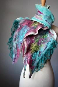 Nuno felted scarf wool silk Mauve Aquamarine collage