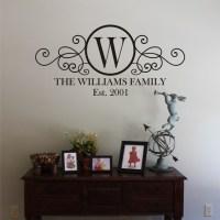 LARGE Swirly Circle Family Monogram Vinyl Wall Decal