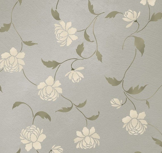 Royal Decor 3d Wallpaper Items Similar To Stencil Peony Allover Floral Pattern