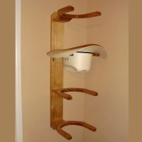 Wooden Cowboy Western Hat Rack 4 Hook Horizontal Wall Mount