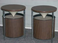 Mid Century Modern Retro Chrome Table Reflecting Speakers