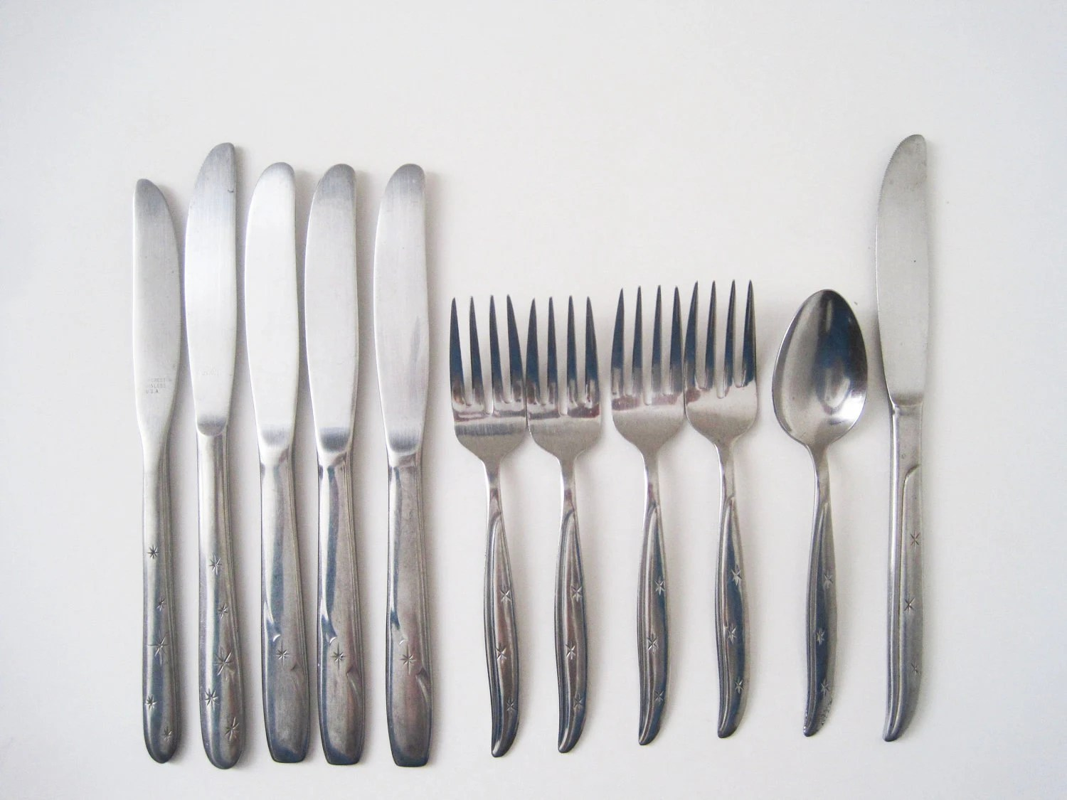 Contemporary Stainless Steel Flatware Mid Century Modern Starburst Flatware Stainless Steel Japan