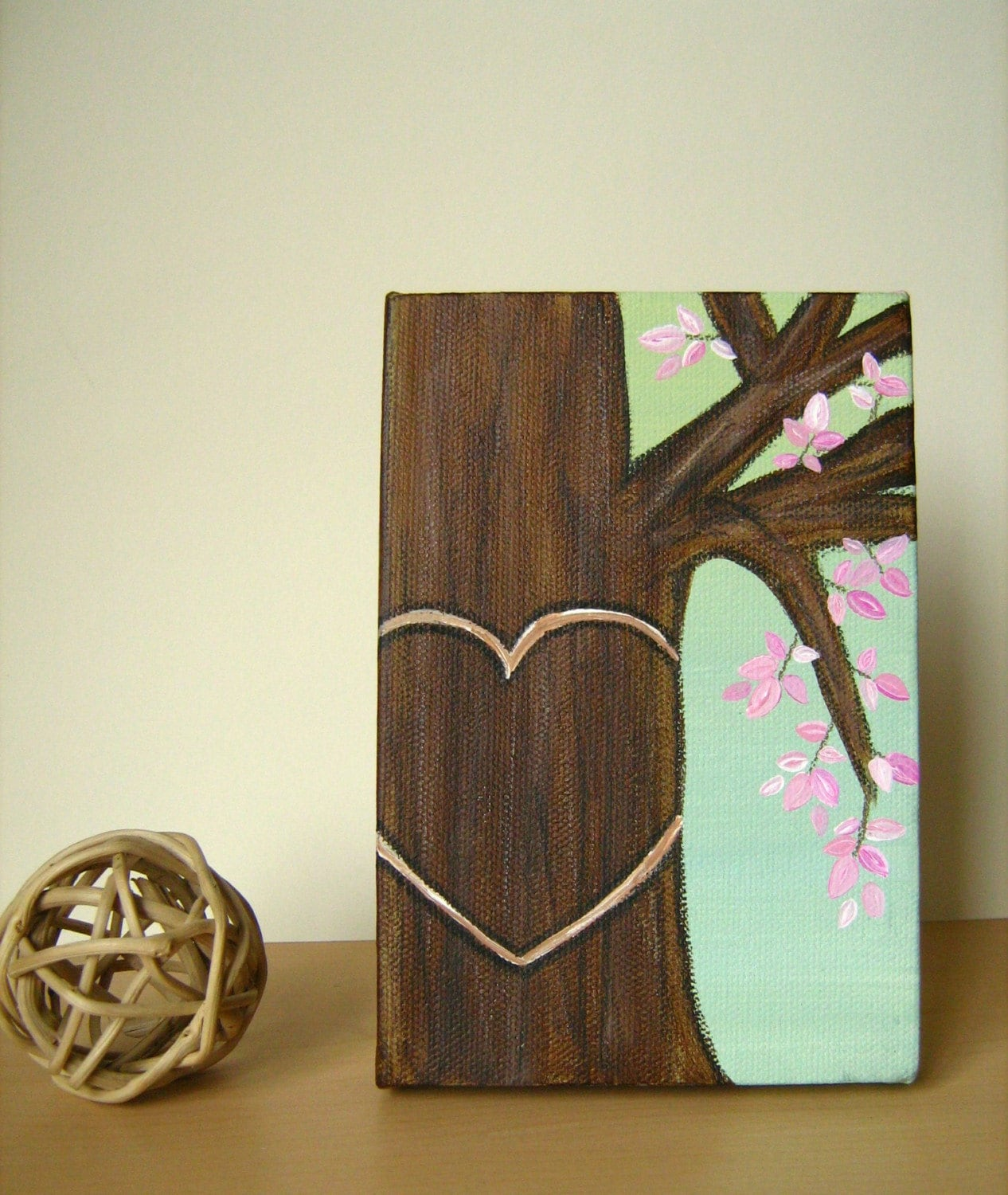 Rustic Canvas Painting Ideas Personalized Honey Tree With Pink Leaves Original Painting