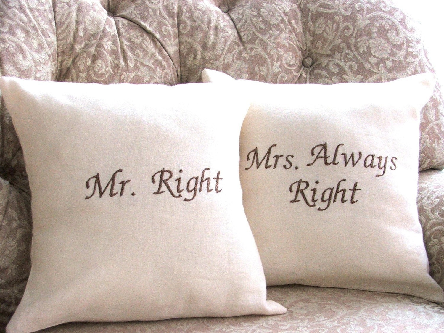 Mr Right Mrs Always Right Bettwäsche Mr Right And Mrs Always Right Linen Pillow By