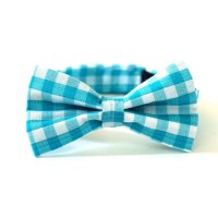 Baby Boy's Bow Tie Turquoise Gingham Aqua Blue and