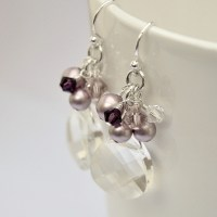 Crystal Bridesmaid Earrings. Dusty Rose Bridesmaids Jewellery.