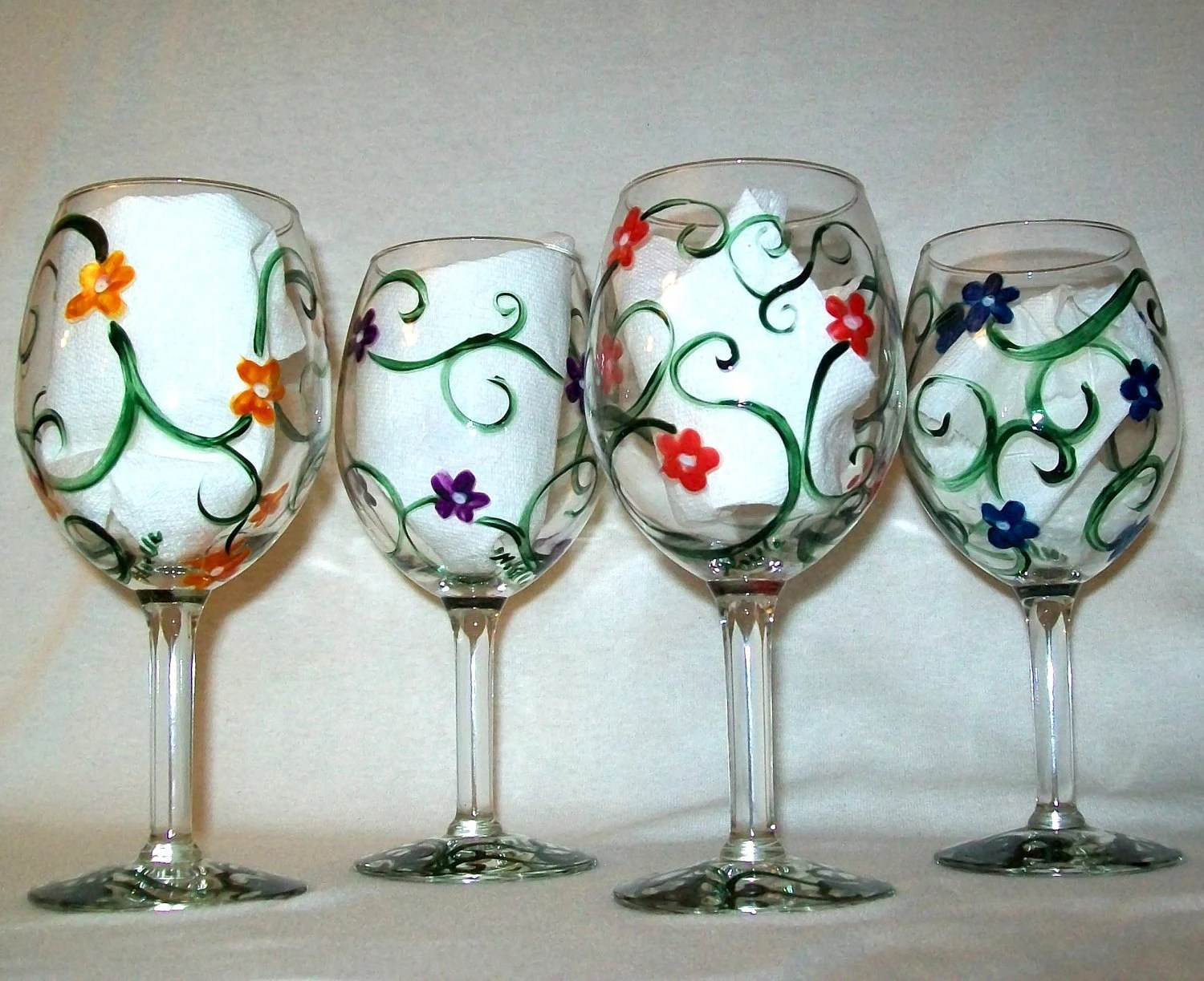 Hand Painted Wine Glasses Wholesale Floral Swirl Hand Painted Wine Glasses Set Of 4