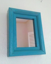 Turquoise Wood Wall Mirror by SecretWindowMirrors on Etsy