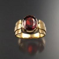 Garnet men's ring 14k Gold size 9 large oval stone bezel