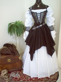 Gray Black Skulls Pirate Wedding Gown Dress Costume. Different