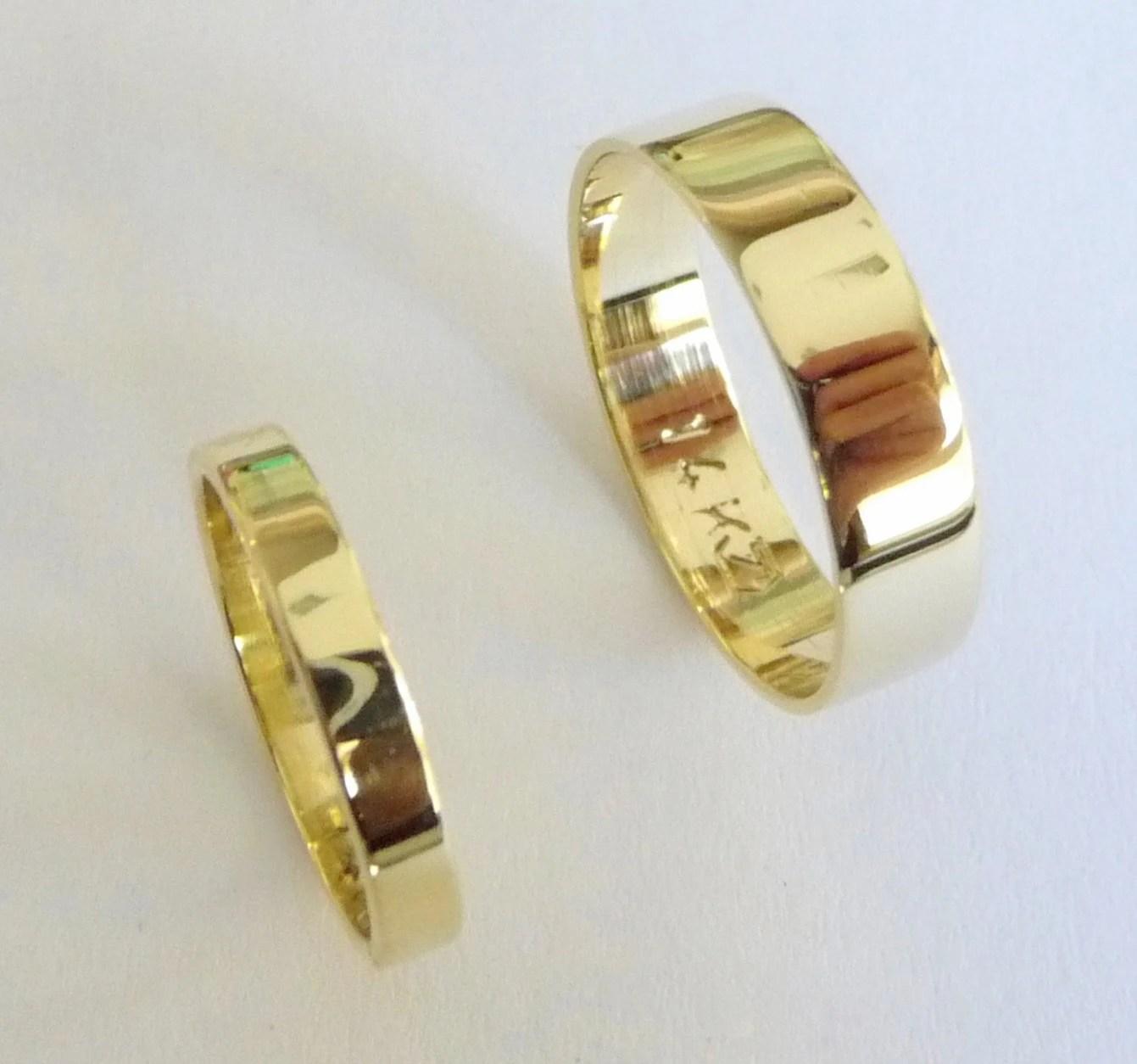 wedding band set 14k gold wedding rings gold wedding rings gold wedding bands flat shiny zoom