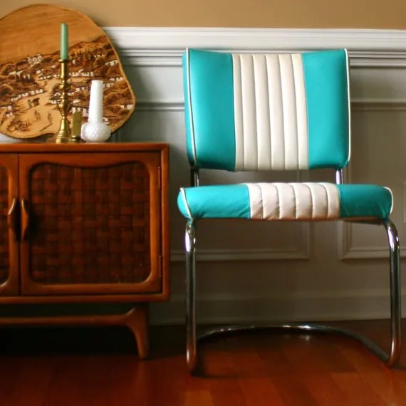 Egg Chair Vintage Turquoise Chair. Retro Diner Style. By Rhapsodyattic
