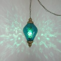 LG MID CENTURY TEAL BLUE OPTIC GLASS HANGING SWAG LAMP LIGHT