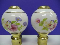 Two Porcelain Bed Post Finials vintage pair by SalvageRelics