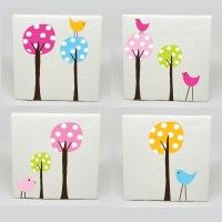 Kids Canvas Art Set of 4 Polka Dot Tree Birds Nursery