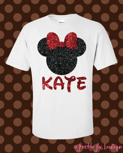 Custom Name Disney Minnie Mouse Mickey Glitter Short Sleeve Tee Shirt