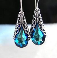 Ocean Blue Earrings Swarovski Earrings Blue Crystal