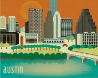 Austin Texas Skyline 8 x 10 Wall Art Print for by loosepetals