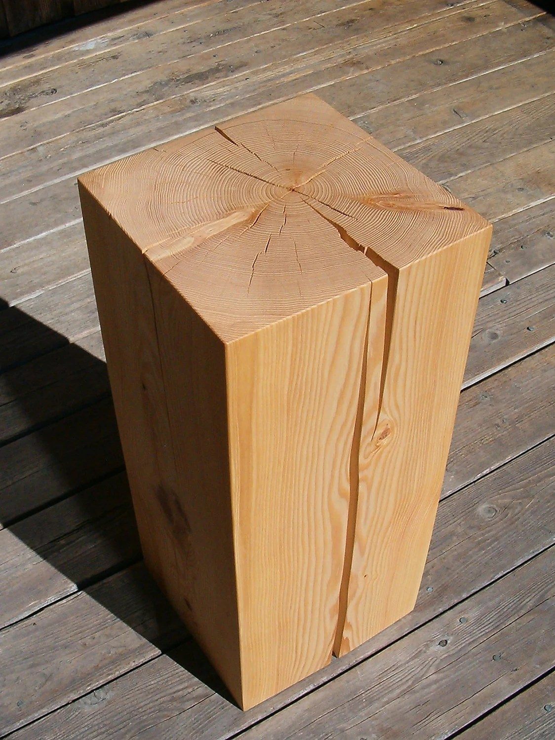 Wood Block End Tables Hemlock Wood Block Side Table