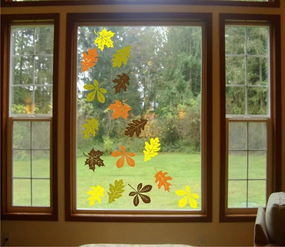 Falling Leaves Wallpaper Animated Items Similar To 16 Set Autumn Leaves Vinyl Decals Vinyl