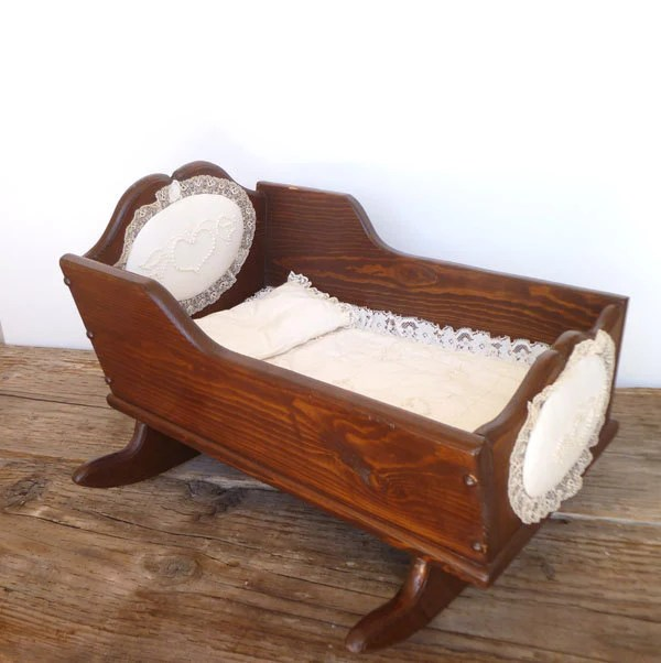 Baby Cradle Attached To Bed Antique Vintage Wooden Baby Doll Cradle With Lace Bed Set And
