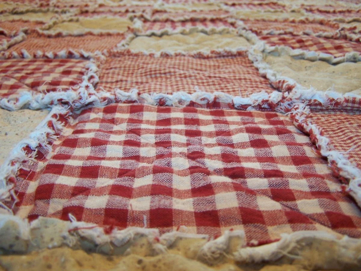 King Quilt Size California King Size Rag Quilt Red Homespun Quilt Farmhouse