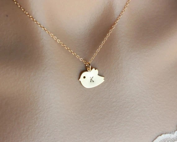 Initial Necklace Baby Bird Necklace Gold Filled By Opalj