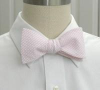 Men's Bow Tie pale pink seersucker wedding party tie