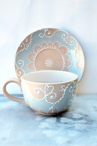 Large tea cup and saucer hand painted in shabby chic style