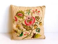 Vintage Jacobean Embroidery / Crewel Pillow on Irish Linen
