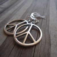 Peace Sign Earrings Silver Jewelry Everyday Jewellery