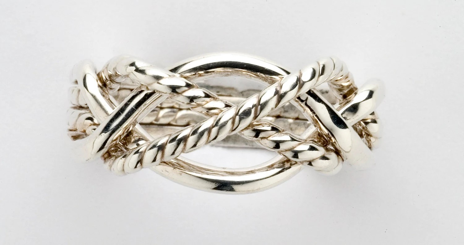 platinum ring turkish wedding ring Sterling Silver Gold or Platinum Ladies Four Band Puzzle Ring with Twisted Bands X