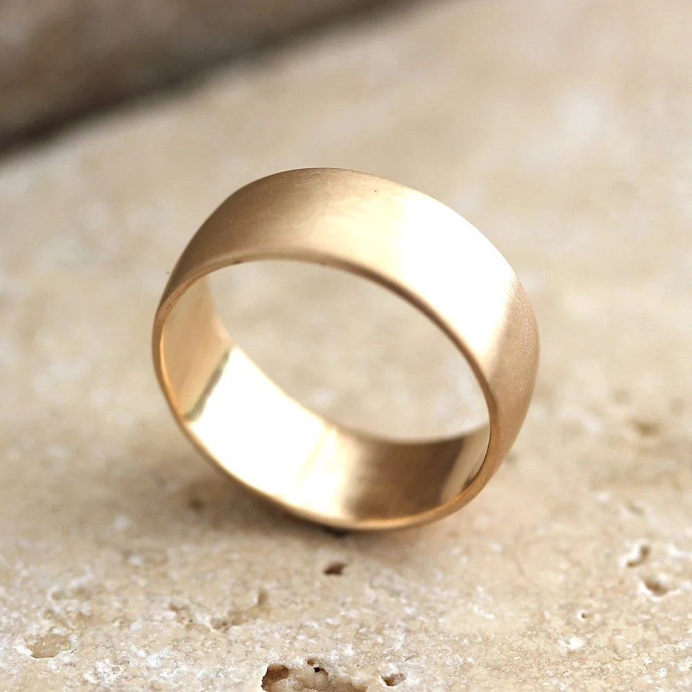 wide mens gold wedding ring 8mm low dome mens gold wedding rings Men s Wedding Band Recyled 10k Yellow Gold zoom