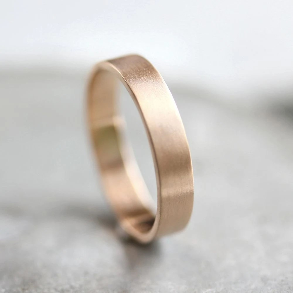 flat wedding band gold mens wedding band Men s Gold Wedding Band Unisex 4mm Brushed Flat 10k Recycled Yellow Gold Wedding Ring Gold Ring Made in Your Size