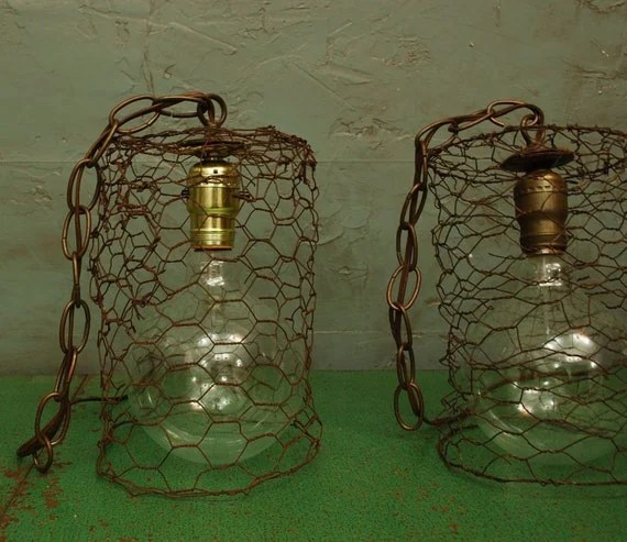 Wire Pendant Light Items Similar To Antique Chicken Wire Pendant Light On Etsy