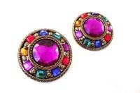Jewel Tone Vintage Clip Earrings Large Costume Gaudy Deco