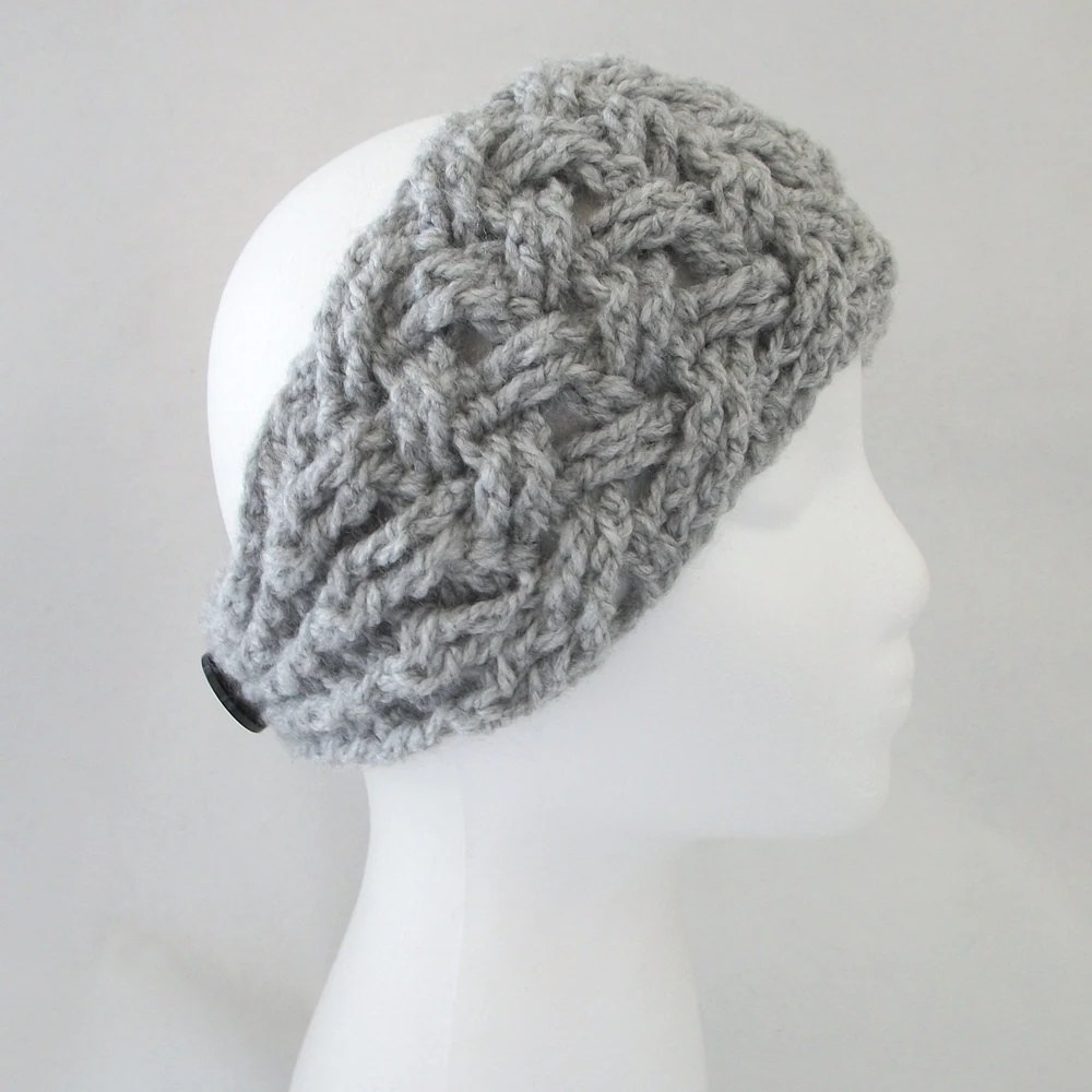 PDF CROCHET Pattern: NEW Lattice Headband/Ear Warmer w Puff Center Flower