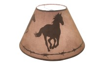 Western Lamp Shade with a Silhouette of two Horses Running and