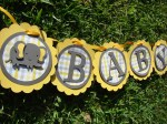 Yellow And Gray Elephant Baby Shower Banner
