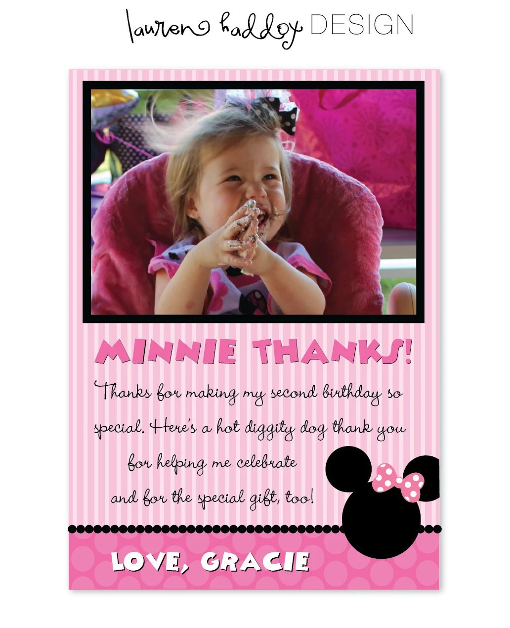 Poster 20x30 Diy Minnie Mouse Photo Thank You Cards By Laurenhaddoxdesign