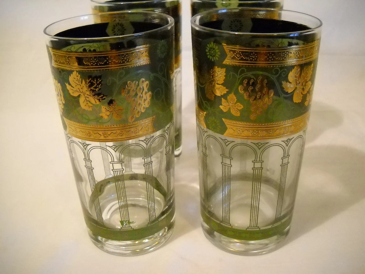 Drinking Glasses Designs Drinking Glasses With Raised Gold And Green Design By Cora