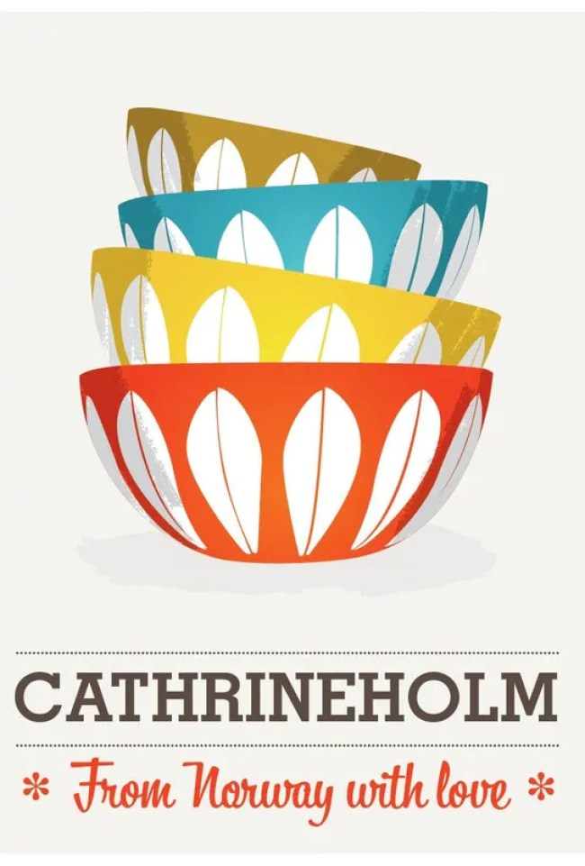 Cathrineholm,  Mid century poster,  scandinavian print,.  Art for Kitchen.   Retro print.  Cathrineholm from Norway  A3