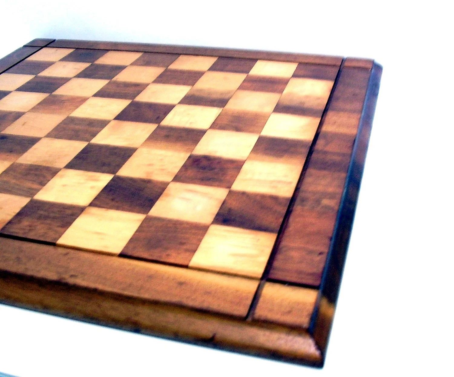 Vintage wooden checkerboard checkers chess game by